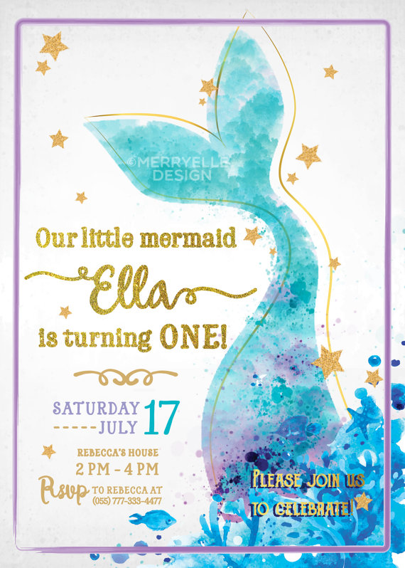 mermaid birthday party invitation merryelle design