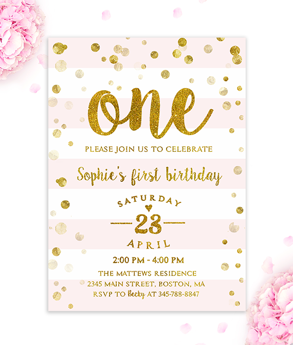 First Birthday Invitation Girl Pink And Gold Merryelle Design