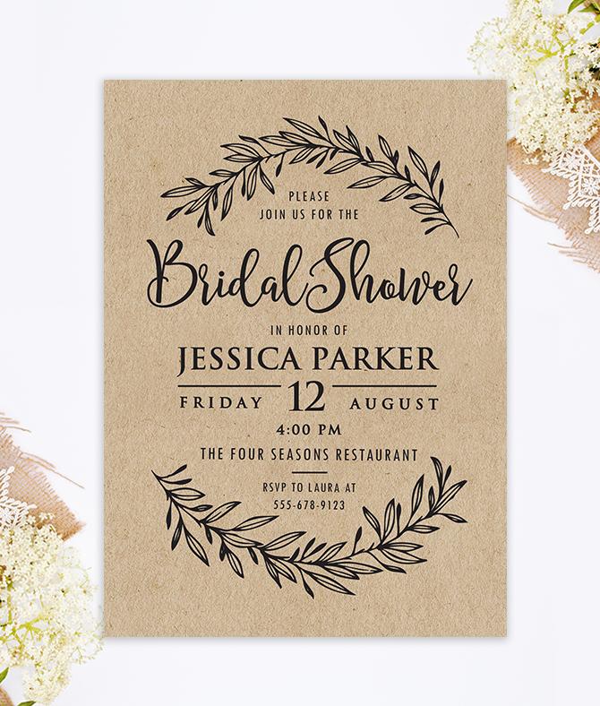 60c8fa8a4d6a Kraft Bridal Shower Invitation – Merryelle Design
