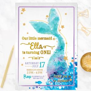 Mermaid Birthday Invitation-Mermaid invitation-Mermaid party-Mermaid invites