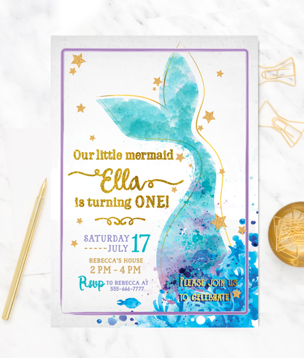 Mermaid Birthday Invitation-Mermaid invitation-Mermaid party-Mermaid invites