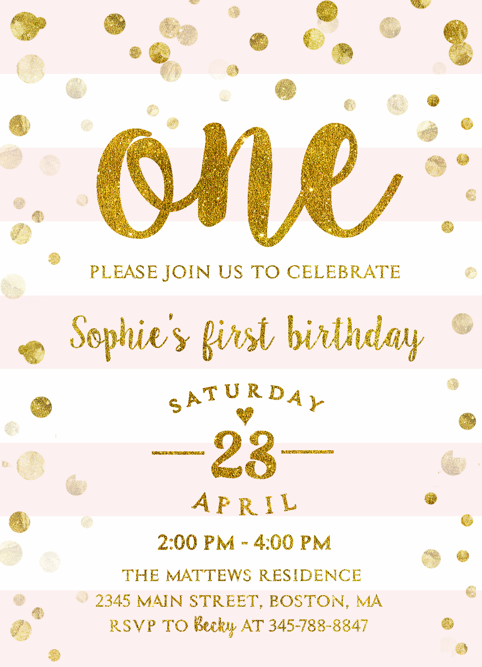 First Birthday Invitation Girl Pink and Gold – Merryelle Design
