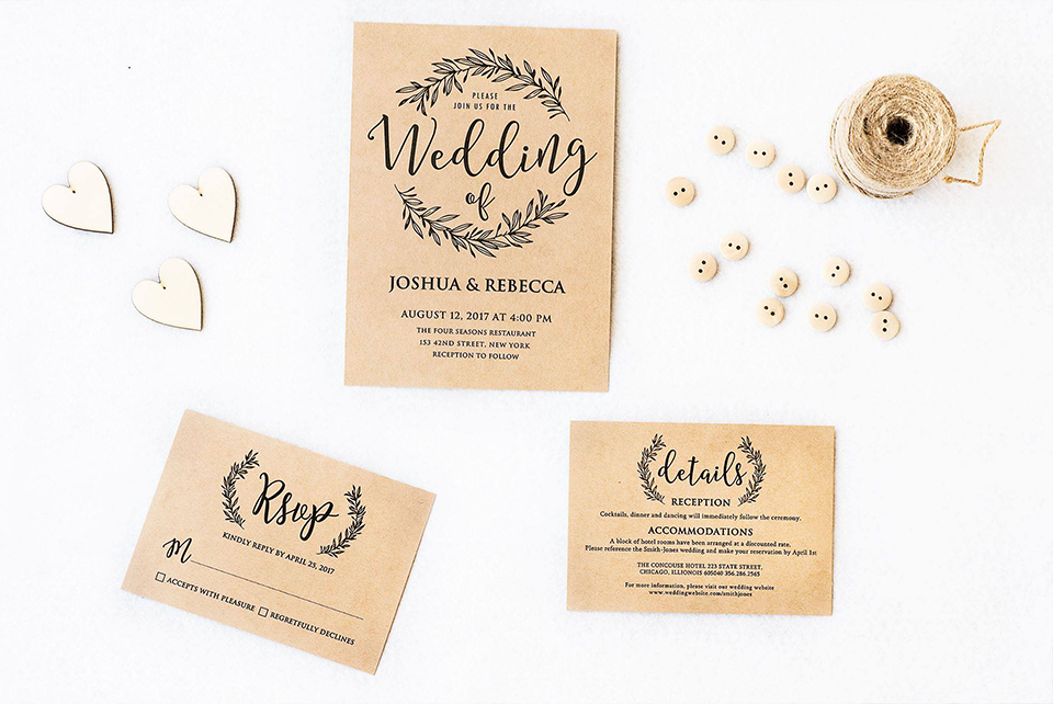 Kraft Wedding Invitation Set – Merryelle Design
