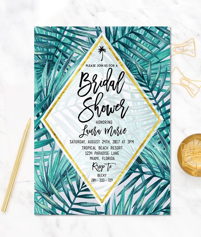Tropical bridal shower invitation merryelle design tropical bridal shower invitation filmwisefo