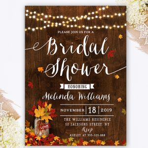 Fall Bridal Shower Invitation - Autumn Bridal Shower - Rustic Bridal Shower Invitation - Mason Jar bridal shower invite
