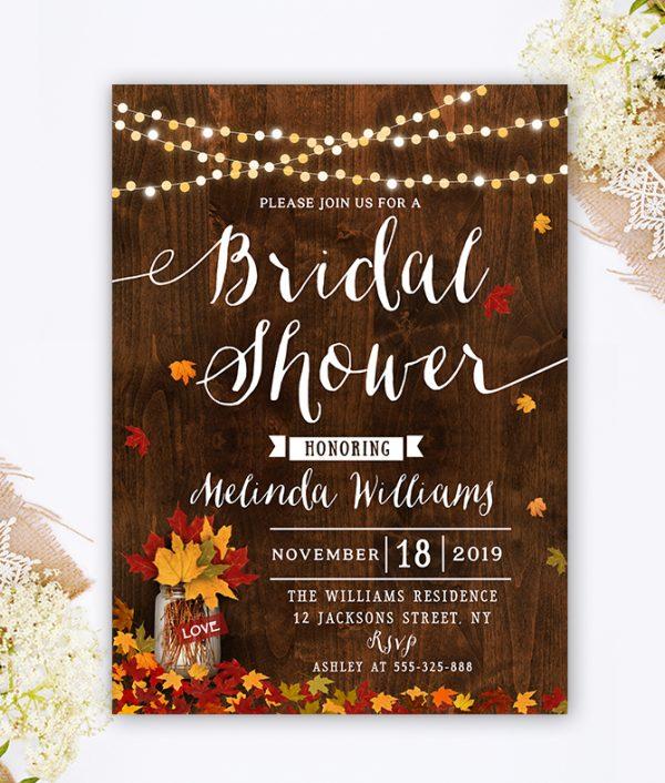 Fall Bridal Shower Invitation - Autumn Bridal Shower - Rustic Bridal Shower Invitation - Mason Jar bridal shower invite