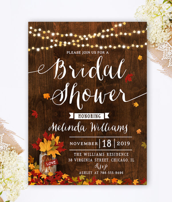 Fall Bridal Shower Invitation-fall bridal shower-fall leaves-rustic wedding-rustic bridal shower invitation-autumn wedding