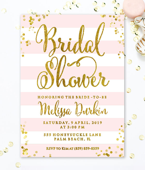 Pink and Gold Bridal Shower Invitation Printable - Blush bridal shower invitation - Bridal shower invite - Pink Gold Glitter