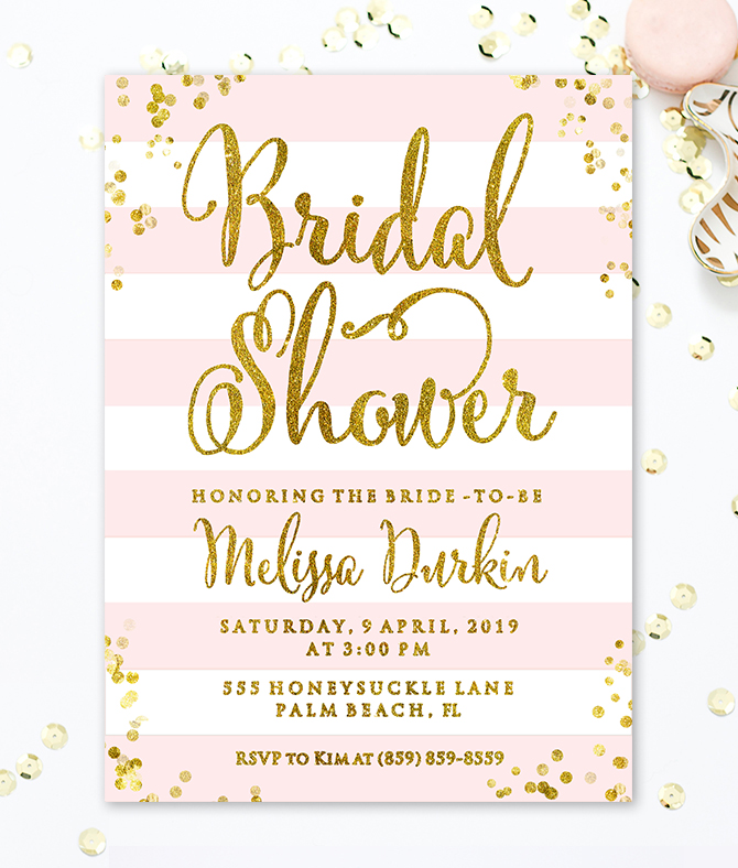 image regarding Bridal Shower Invitations Printable referred to as Purple and Gold Bridal Shower Invitation with Stripes