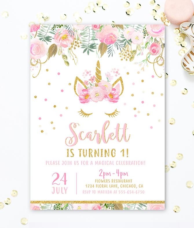 Unicorn Birthday Invitation Merryelle Design