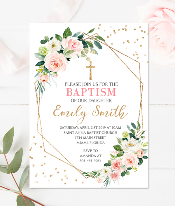 Geometric invitation-Geometric baptism-Baptism Invitation - Girl baptism invite