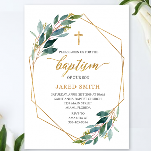 Baptism Invitation Printable, Greenery baptism invite, Christening Invitation