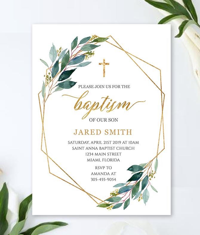 greenery baptism invitation for boy or girl  u2013 merryelle design