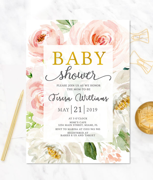 floral-baby shower-invitation