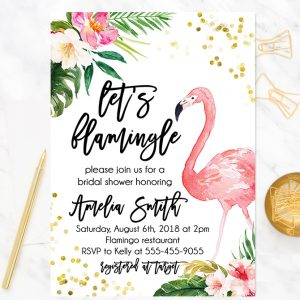 Flamingo Bridal Shower Invitation- Flamingo Bridal shower invite - Tropical bridal shower