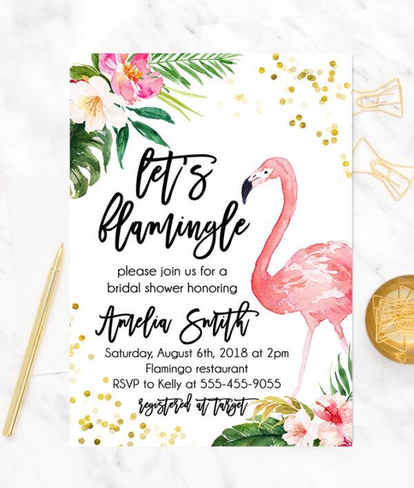 Flamingo Bridal Shower Invitation- Flamingo Bridal shower invite - Tropical bridal shower