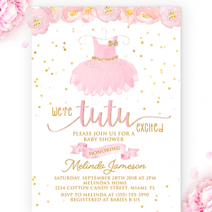 tutu baby shower invitation-baby shower girl-tutu invitation-tutu excited-tutu party