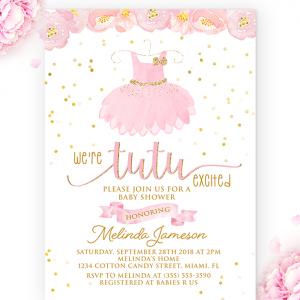tutu baby shower invitation-baby shower girl-tutu invitation-tutu excited-tutu party