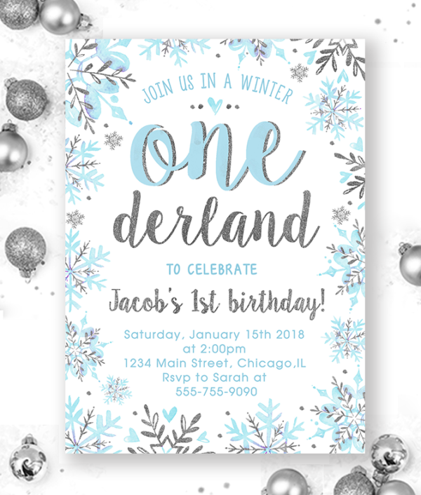 Winter Onederland Invitation-Onederland Invitation-Winter Onederland-1st birthday boy-winter birthday-onederland birthday-onederland party-Printable Invitation