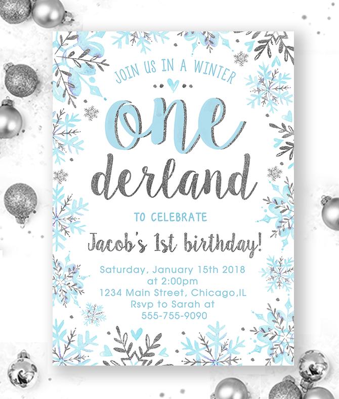 Winter Onederland Invitation Boy Blue And Silver Merryelle Design