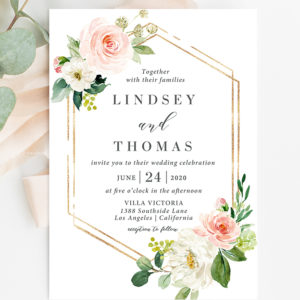 floral invitation-wedding invitation - geometric invitation - wedding invites-floralweddinginvitations-floral wedding invites - geometric wedding invitations - greenery wedding invitation - springwedding-summerwedding
