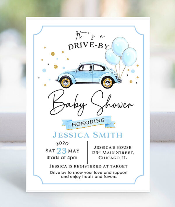 drive by-baby shower-invitation-boy-drive through-baby shower parade