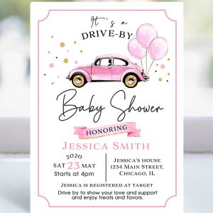 drive by-baby shower-invitation-baby girl-drive thru