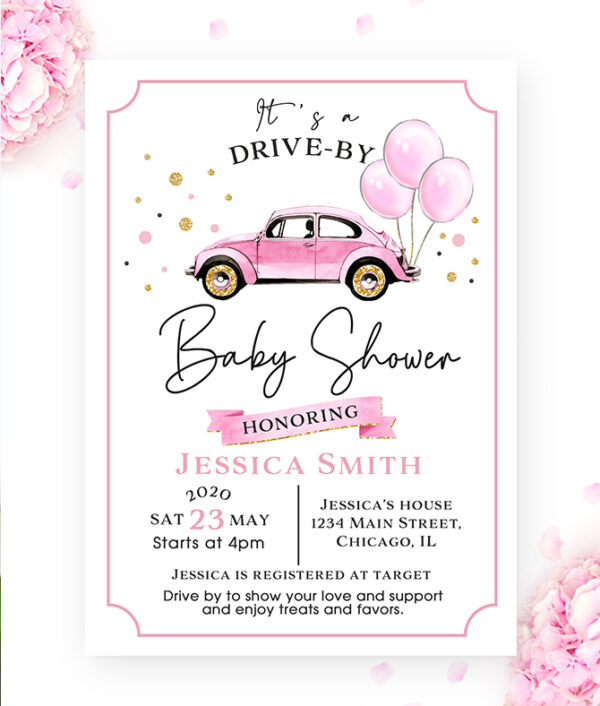 drive by-baby shower-invitation-baby shower invite- baby girl